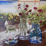 FLOWERS & GLASS 24x24