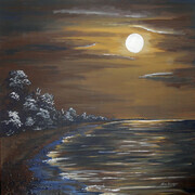 MOON OVER POINT PELEE 24x24